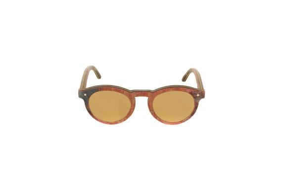 Lunettes de soleil 7PLIS #304 skateboard recyclé #BOWL gold bordeaux noir        verre plat gold catégorie 3