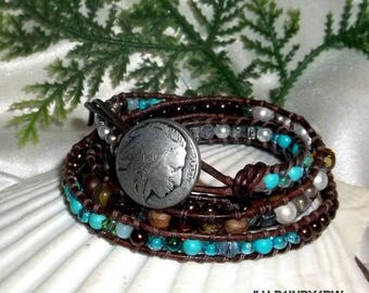 Leather wrap bracelet 4 row Turquoise Sterling Silver Mixed Fits 6-6.5 wrist