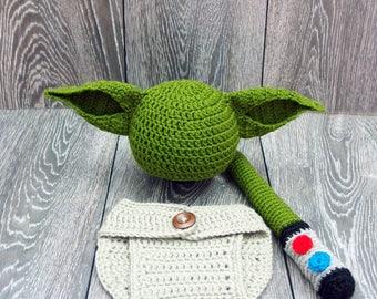 Baby Yoda Costume, Star Wars inspired costume, Yoda Baby Hat, Star Wars Baby, Newborn Star Wars Gift, Baby Boy Photo Props