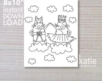 """colouring in - printable colouring in - downloadable - instant colouring in - super dog - ballarina -  8x10"""""""