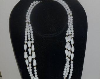 Vintage Triple Strand White Bead Necklace