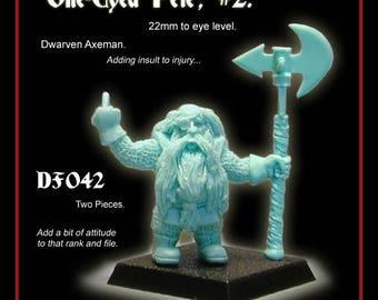 28mm Scale, Dwarven Axeman, Resin Gaming Mini. Warhammer. Tabletop. Dungeons & Dragons. Dwarf. Pathfinder. RPG tabletop