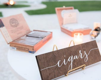 Cigars Sign, wedding cigars sign, cigar bar, wedding cigar bar, cigar table, cigar bar sign, Wooden Wedding Signs - Wood