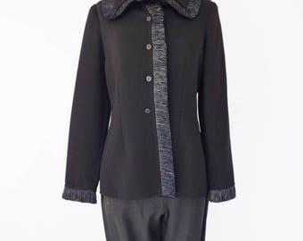 VTG Bill Blass Wool Jacket with Raffia Fringe Trim