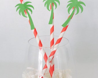 12 Palm Tree Straws - Tropical Party - Aloha Beaches Bachelorette Party - Luau - Bridal Shower - Baby Shower - Pool Party - Birthday Party