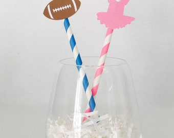 12 Touchdowns or Tutus Gender Reveal Party Straws - Baby Shower - Boy - Girl - Pink - Blue - New Baby - Drink Stirrers - Party Decor