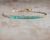Emerald Bracelet in Silver or Gold, May Birthstone, Zambian Emerald Gemstone Jewelry, Real Emerald, Dainty Gold Stacking Bracelet
