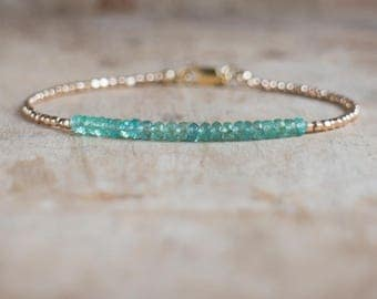 Emerald Bracelet in Silver or Gold, May Birthstone, Zambian Emerald Gemstone Jewelry, Real Emerald, Dainty Gold Stacking Bracelet