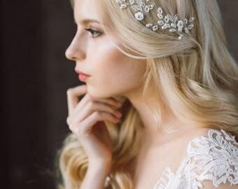 20% OFF- Wedding Headband,  Headband, Pearl Headband, Wedding Hair Vine, Bridal Wreath, Floral Tiara, Diadem, Wedding Headpiece