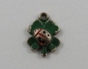Small Enamel Ladybug on Leaf Sterling Silver Vintage Charm For Bracelet