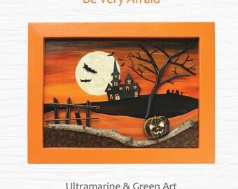 halloween wall decor halloween painting halloween decor spooky wall art pumpkin wall - Halloween Wall Decor