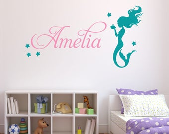 Gentil Personalized Name Wall Decal   Mermaid Wall Decal   Girls Nursery Wall Decal  Decor   Mermaid