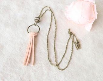Pink Suede Bronze Necklace, Tassel Necklace Boho, Beaded, Coral, Long Tassel Necklace, Simple Necklace, Boho Necklace, Boho Jewelry