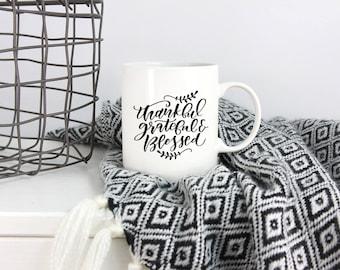 Thankful, Grateful, Blessed, Turkey, Tea, Cup, Autumn, Friendsgiving, Thanksgiving Mug, Coffee Mug,
