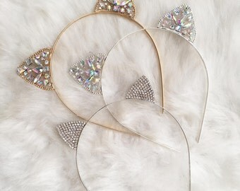 Gold or Silver Crystal Cat Ears Headband, Cat Ears, Ears Headband, Metal Kitten Ears, Kitty Cat Hair Band, Costume Ears, Crown Headband