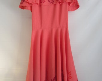 Coral Autumn Leaf Dress w/flared collar & flared skirt.  What fun it would be to have a can-can to twirl around in !!!