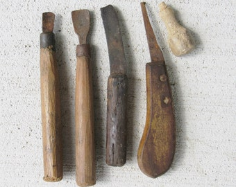 Sale Antique Woodworking Tools Handcrafted Wood Handles & Hand Forged Knife Blade / Handmade Rustic Tools / Wood Handle Tools / Blacksmith