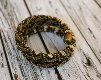 Black beige brown tiger python bead jewelry crochet python snake pattern reptile seed beads bracelet spiral bead rope crochet beaded rope