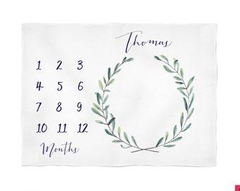 Monogramed Baby Blanket Baby boy Blanket, Personalize Baby Blanket Baby Milestone Blanket, Watch Me Grow Blanket, Tribal Boho Arrows Blanket