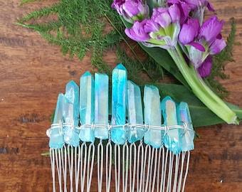 aqua aura quartz gemstone hair comb, boho bridal headpiece, fairytale gift, wedding hair comb, mermaid hair accessories, something blue for