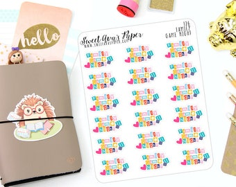 Family Game Night Stickers - Family Planner Stickers - Game Stickers - Dice Stickers - Fits Most Planner Types - Calendar Stickers - 126