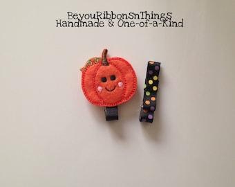 Pumpkin | Halloween Dots | Hair Clips for Girls | Toddler Barrette | Kids Hair Accessories | Felties | No Slip Grip | Halloween