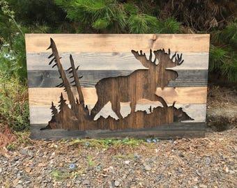 Rustic Moose Silhouette Wood Wall Art