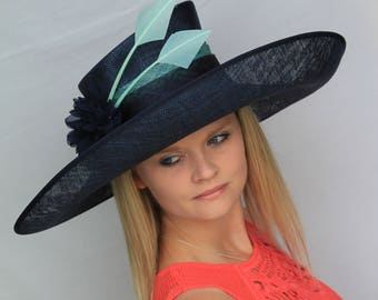 Large navy blue and aqua green formal hat, kentucky derby, ladies day, wedding, ascot,
