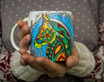 Horse lover gift Horse mug Gift for women Mug with horse Hand painted horse Pattern horse Gift for her
