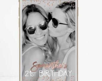 Birthday Snapchat Filter, Birthday Filter, Geofilter, Snapchat 21st birthday for her, Birthday Gift for him, Decorations, Rose Gold Confetti