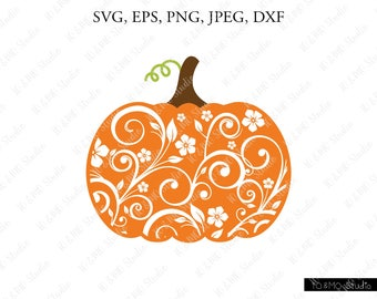 Lace Pumpkin SVG, Pumpkin Svg, Halloween Svg, Pumpkin Clipart, Thanksgiving SVG, Cricut, Silhouette Cut Files