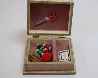 Dollhouse Miniature Hand Painted Sewing Box with Scissors, Thread Spools, Pincushion, Tape, Button & Ribbon Cards (1/12 Scale)