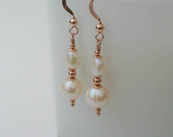 14K Rose Gold Filled and Ivory White Freshwater Pearl Drop Earrings