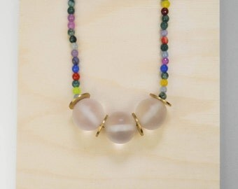 Resin and bronze bead necklace // Transparent resin bead necklace // Maxi colorful necklace // Stone beads // Gift for her // One of a kind