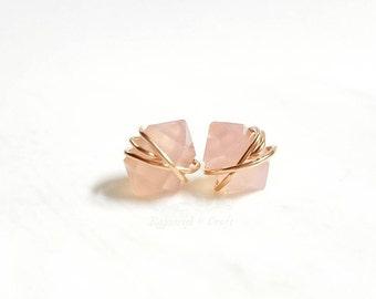 Rose Chalcedony earring studs | Bridesmaids earrings | Herkimer Diamond Style Earrings | Double point Gemstone studs | Minimalist studs