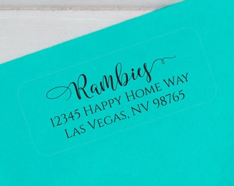Return Address Label, Return Address Stickers, Address Sticker, Wedding Address Label, Family Label, Couples Return Label, Transparent Label