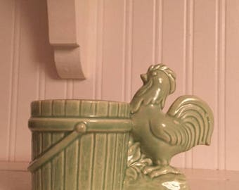Mint Green Rooster Planter
