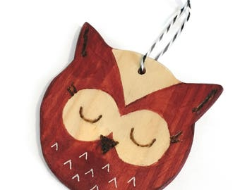 OWL - Christmas Decor Christmas tree ornament / Wooden owl - Christmas tree decoration