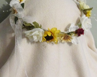 Summer Lovin Head Wreath Renaissance Wedding / Hand fasting / Hand Crafted / Custom changes available
