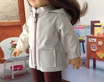 Anorak jacket, spring jacket, tan jacket, twill jacket, hooded jacket, zipper jacket,