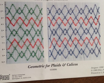 Geometric for Plaids and Calicos Smocking Plate, vintage smocking plate, heirloom sewing, Ellen McCarn design, geometric smocking design