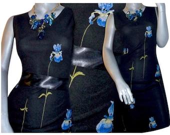Dressing Clio Black Blue/Purple Iris Floral Print Knee Length Sleeveless Dress Medium/Large