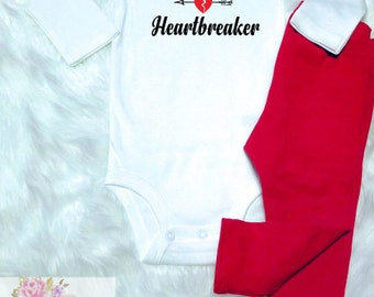 "Baby Boy Valentine's Outfit, ""Lil Mr Heartbreaker"", Baby Boy Outfit, First Valentine's"
