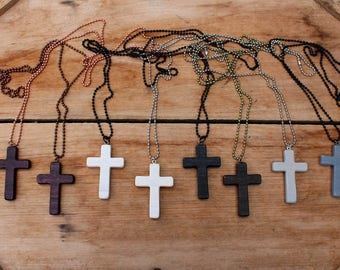 Wood Cross Necklace, Wooden Cross, Wood Cross Pendant, Mens Cross Necklace, Womens Cross, Brown Cross, Black cross, Rustic cross, Christian