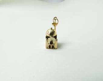 Vintage 14K Yellow Gold Mosque Charm #1819