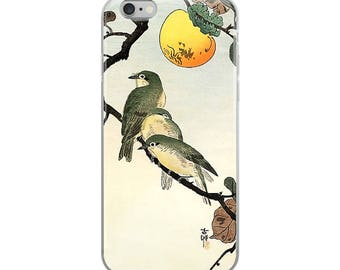Japanese bird iPhone case, pretty Asian woodblock print, great for bird lovers, nature lovers, and plant lovers!