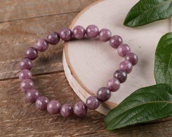 LEPIDOLITE Power Bracelet - Lepidolite Crystal, Natural Lepidolite, Lepidolite Bracelet, Lepidolite Beads E0586
