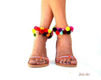 Boho Sandals, friendships, leather sandals, semiprecious beads & colourful pom pom, Handmade Sandals,  hippie sandals, Bohemian sandals