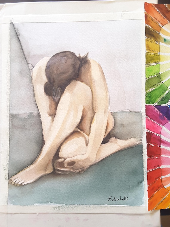 Nude, woman with crossed legs, original watercolor by Francesca Licchelli, gift idea for man, lounge decoration, bedroom decor, wall art.