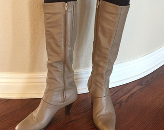 Taupe Beige Leather Knee High Boots Cobbie's 1970 1980